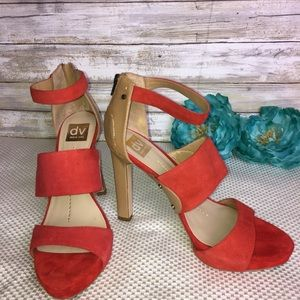 Dolce Vita Red Strappy Blocked Sandals, Size 10